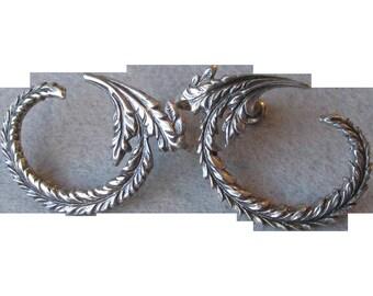 Unusual 1920's Sterling Silver Curved Fern Leaf Vintage Earrings