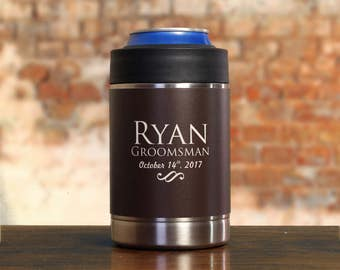 Best Man Gift, Personalized Can Coolers for Groomsmen, Best Man, Set of 7