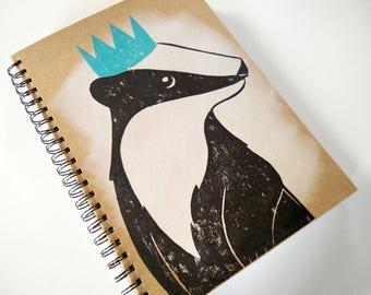 Party Badger Wildlife Lino Cut A4 Hardback Sketchbook Journal