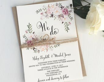 Pink Blush Wedding Invitation Suite Bohemian Invite Set Rustic Floral
