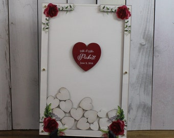 Wedding Guest Book/Top Drop/Alternative/Shadow Box/Drop Frame/Heart/Custom/U Choose Colors/Red Rose/Valentine/Wood Shape