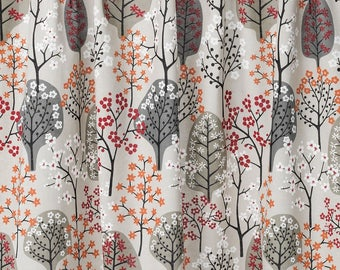 LINEN Curtain panel natural beige green orange black Trees Forest Decor Cafe curtain Kitchen valance , runner napkins available, great GIFT