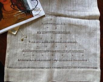 OAK Hemstitched Linen Table Runner  , Linen Table Topper, Linen tablecloth