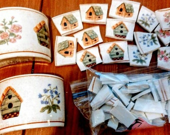 Broken china, Mosaic pieces, Bird House China,,, Mosaic Supplies
