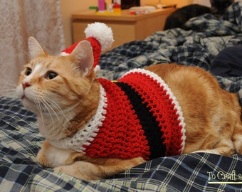 Crochet Santa Suit Cat Sweater