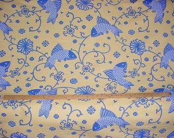 Koi fish fabric etsy for Koi fish print fabric