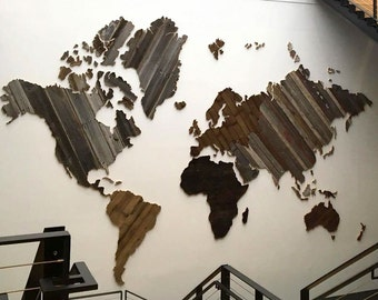 Map of the World from Reclaimed Barn Wood, recycled, reclaimed barn wood, vintage, rustic fine art one of a kind piece.