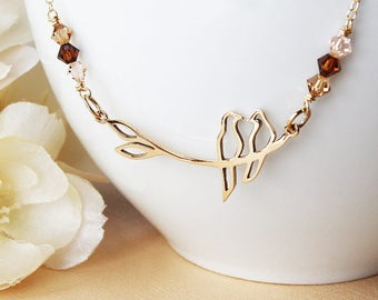 Bird necklace two birds on a branch gold bird necklace swarovski crystal necklace gold bird jewelry love birds love bird necklace dove lover