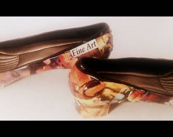 ONE OF A KIND collage art shoe. 'Faces'. Women and men's portraits/ faces. Artistic  montage of photos. Size 9
