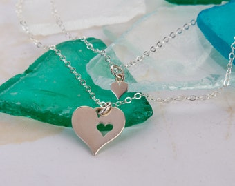 Mother Daughter Jewelry Sterling Silver Two Piece Heart Puzzle Necklace Set Best Friends Necklaces Gift Wrapped