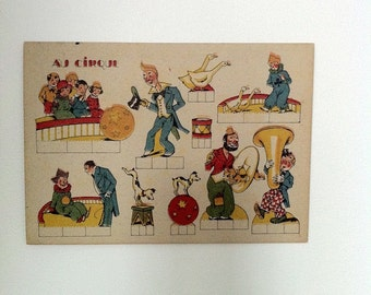 French vintage paper toy, digital download, circus