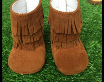 Infant Booties Brown Fringe Booties Suede Booties