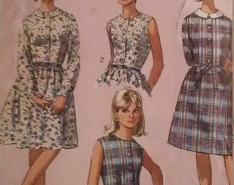 Vintage Simplicity 6330 Sewing Pattern Size 12T Bust 32 Dress with Two Skirts Including Tissue Lesson Chart on How to set in a Sleeve
