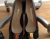 "Vintage Salvatore Ferragamo Black ""Vara"" Skimmers / Vintage Ferragamo Croc Embossed Pumps / Salvatore Ferragamo Black Shoes 6.5"