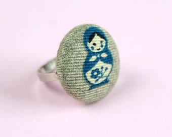 Blue Russian Doll Fabric Covered Button Ring