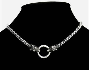 """Viking Braid Design Stainless Steel Chain Necklace with Viking Design Wolf Head Ends and Spring Ring Connector for Attaching Your """"Stuff"""""""