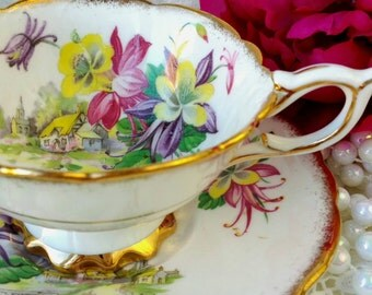 Vintage ROYAL STAFFORD Tea Cup and Saucer/ Aquilegia/ Made in England / Pink Tea Cup/ Vintage Tea  / Cabinet Cup