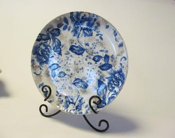Roses Flow Blue Plate Flow Blue China Bowls Dark Blue and White China Bowl Antique English China Flow Premier DBA Co Blue Rose Plates  Gold