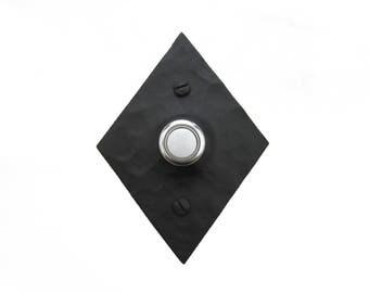 Rustic Hammered Diamondback Wrought Iron Doorbell Cover D4
