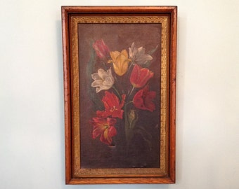 Original antique oil painting on canvas framed tulip floral bouquet wall art hanging Victorian farmhouse cottage shabby chic home decor
