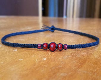 Red Bead Necklace Red Necklace Red Choker Red Black Choker Necklace for Her Gifts Tween Girl Gifts Womens Choker Hemp Choker Custom Choker
