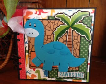 Completed scrapbook album- You are RAWRSOME Dinosaur Chipboard Book