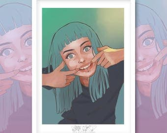 Forced Smile A4 Giclee Print.