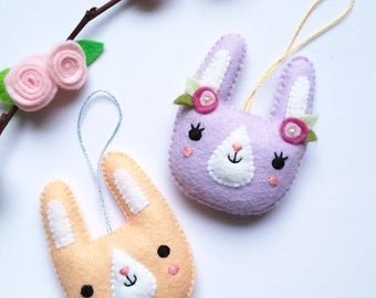 PDF pattern - Spring bunny ornament - felt Easter ornament, easy sewing pattern, DIY hanging decoration, spring rabbit