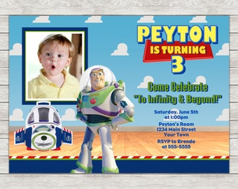 Buzz Lightyear Toy Story Birthday Invitation - Printable File or Printed Invitations