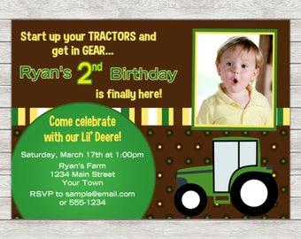 Tractor Birthday Invitation - Printable File or Printed Invitations