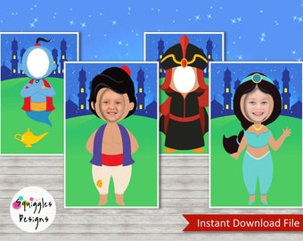 Aladdin Photo Booth Props (includes Aladdin, Jasmine, Genie & Jafar) - Digital Files