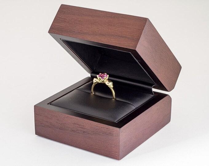 Wooden Walnut Box, Ring Box, Boxing-Upgrade for Kipkalinka Jewellery, Redbrown Ring Box Engagement, Wedding Ring Box