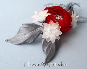 Bridal Hair Flower Clip Bridal Hair Accessories Grey and Red Wedding Fascinator Bridal Hair Piece Bridal Hair Clip Bridal Headpiece