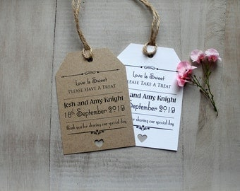 10 Love is Sweet Shabby Chic/Vintage Wedding Favour Tags Candy/Buffet