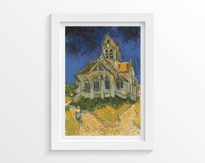Cross Stitch Pattern PDF, Embroidery Chart, Art Cross Stitch, Architecture, The Church at Auvers Sur Oise by Vincent van Gogh (VGOGH12)