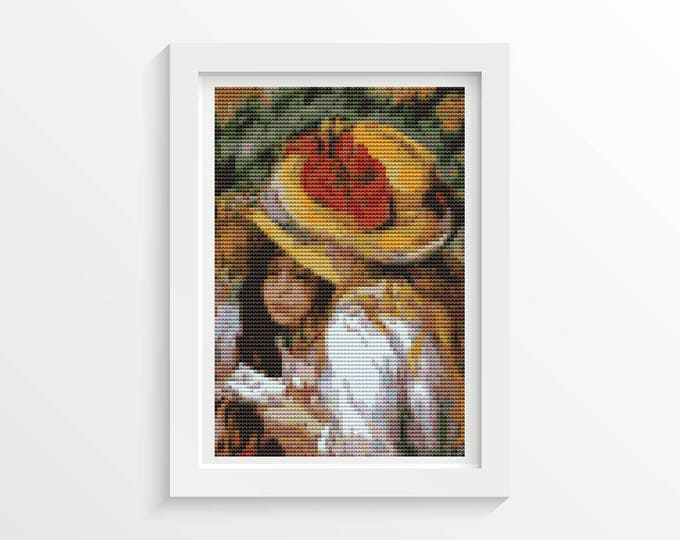 Mini Cross Stitch Kit, Embroidery Kit, Art Cross Stitch, Two Young Girls Reading by Pierre-Auguste Renoir (TAS026)