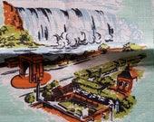 Vintage Dish/Tea Towel Niagara Falls Canada Mint Jade Green