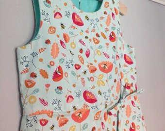 Handmade cotton wrapover dress for toddlers and girls 3 years - flower and bee print