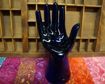 Vintage Glass Hand Ring Holder - Dark Blue Glass Hand