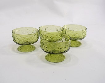 Set of 4 Vintage Glass Footed Dessert Dishes, Small Bowls, Green