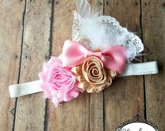 Vintage Pink Lace shabby Chic headband | Newborn-Adult listing | Shabby chic headband | Newborn Headband | Headband