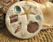 Christmas gift coasters. Set of 4. Absorbent clay Florida shell coasters with real embedded shells and starfish. Beach home holiday gift.