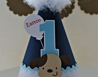 Lil' Puppy Dog Party Hat -Dark Blue, Light Blue, White and Red - Personalized