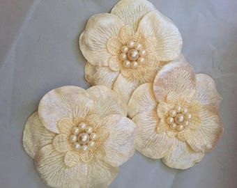 Cream Fabric Flowers with Lace and Pearl Centers 3 Flowers with Pin Back