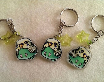 "Yellow Green Budgie Keychain, DOUBLE SIDED 1"" Acrylic Keychain, Cute Bird Keychain, Gift for Bird Lover, Stocking Stuffer, Parakeet Keychain"