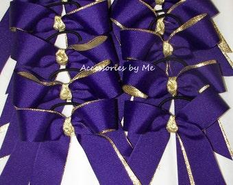 Softball Team Bows, 12 Bows, Purple Gold Ponytail Holders, Cheap Football Cheerbows, Ribbon Pony Elastic, Soccer Hair Bow, Hairbow, Bulk Lot