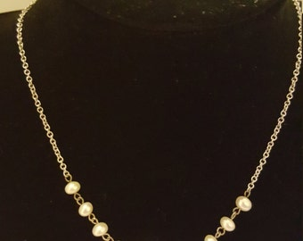 Vintage Freshwater Pearl Necklace On Sterling Chain
