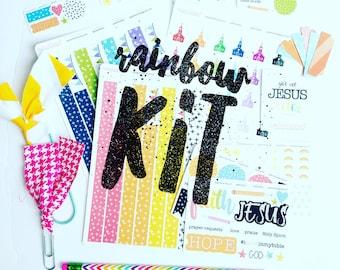 Rainbow kit, stickers, planner, bible journaling, planner stickers, washi