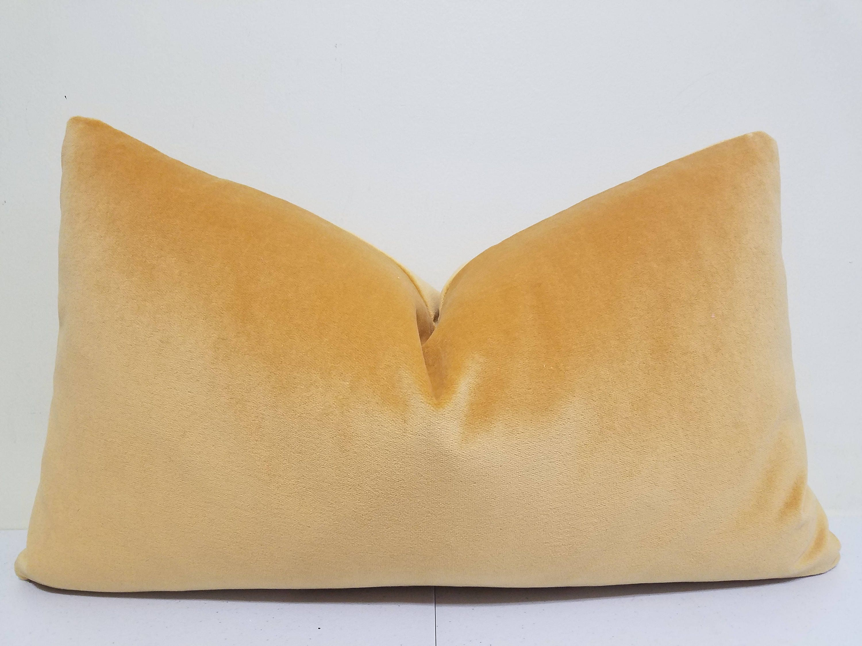 Gold Yellow Velvet Lumbar Pillow Cover Velvet Lumbar
