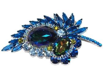 Vintage Juliana Designer Costume Jewelry Watermelon Heliotrope Montana Bermuda Blue Rhinestone Brooch Pin